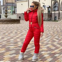 European Women's Fashion One-Piece Red Fur Lined Hooded Ski Suit Snowsuit