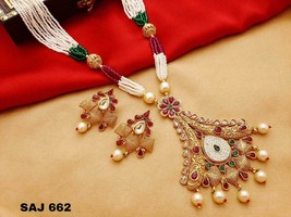 Kundan High Quality Indian Bollywood Ethnic fashion Partywear Necklace Set EA572 - $64.08