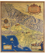 Early Map of Spanish Mexican Ranchos Los Angeles County Poster Vintage H... - $12.87+