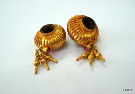 vintage antique 20kt gold beads pair handmade gold jewelry beads - $791.01