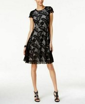 Alfani Petite Lace Fit Flare Dress Deep Black 6P - $49.99