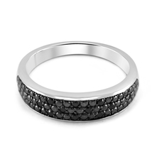 White Gold Plated 925 Silver Three Row Black CZ Women's Ring Band  - $41.99