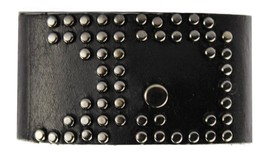 NEW JOE'S JEANS LEATHER STUDDED LOGO CUFF WRISTBAND ROCKER BRACELET BLACK