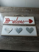 """New Valentines Day """"Welcome"""" Decor Wall Hanging Sign, metal hearts  - $11.71"""