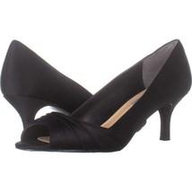 Nina Carolyn Ruched Peep Toe Dress Heels 308, Black, 7.5 US / 38 EU - $31.67