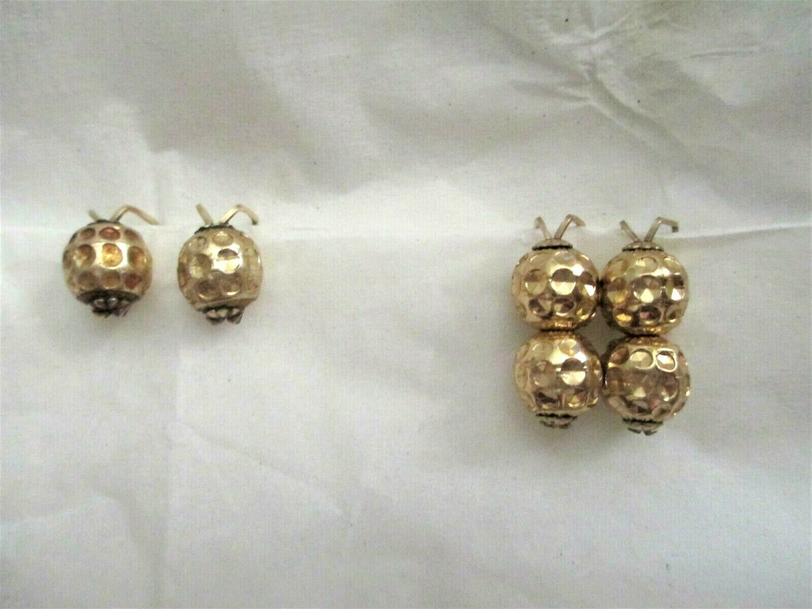 Primary image for Vtg Hillcraft  Gold Tone Bead Slide On Earrings Lot of 2 Up To 1""