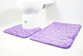 3D Stone Bathmats Toilet Rugs Anti-Slip Floor Rug Bathroom Mat 2 Pcs/Set - $22.25