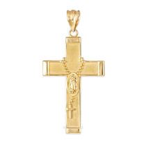 Yellow Gold Guadalupe Latin Cross Rosary Pendant (10k, 14k) - €99,17 EUR+