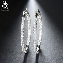 OrsaJewels® Silver Color High Polished Hoop Earrings Paved With AAA Austrian - $7.81+