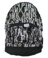 Victoria's Secret PINK~Campus Backpack~ full-size bag, Black/Silver Sequin BLING - $128.21