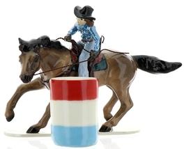 Hagen-Renaker Specialties Ceramic Horse Figurine Rodeo Barrel Racer with Barrel image 9