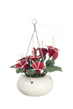 DOLLHOUSE MINIATURE RED DAY LILY IN HANGING POT #RP0277 - $7.03