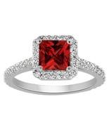 1.40 Ct Princess Cut Red Garnet Halo Engagement Wedding Ring 10K White G... - $75.99