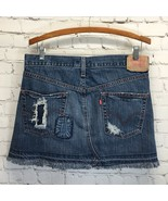 Levi Button Fly Denim Skirt Frayed Patched Destroyed Distressed Size 7 W... - $38.65