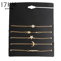 17KM® 5 pcs/set Vintage Gold Color Crystal Moon Bracelet Set Punk Star A... - $6.29