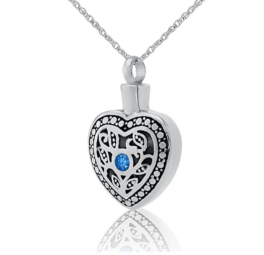Blue Crystal in Heart Stainless Steel Pendant/Necklace Cremation Urn for Ashes