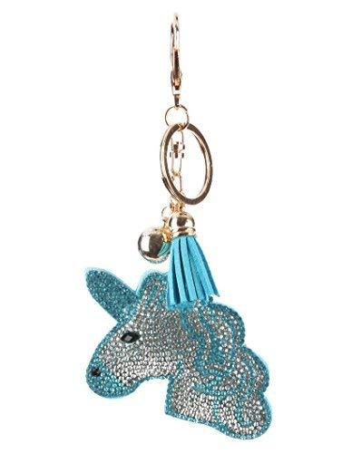 scarlettsbags Pave Crystal Blue Unicorn Handbag Purse Charm Jewelry Pillow Key C