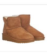 Kirkland Signature Women's Ladies' Short Shearling Wedge Boot Chestnut S... - $30.80
