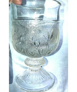 2 Indiana Glass Clear Pebble Leaf aka Cabbage Leaf Goblets Pressed Glass - $19.99