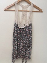 Forever 21 100% Rayon Green Floral Tank Top With Crochet Collar & Straps SZ S - $7.95