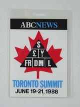 Ronald Reagan Vintage Press Pass Toronto Summit 1988 ABC News Credential - $98.95