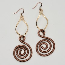 Drop Earrings Aluminum Burnished and Laminated Yellow Gold with Hook Hook image 1