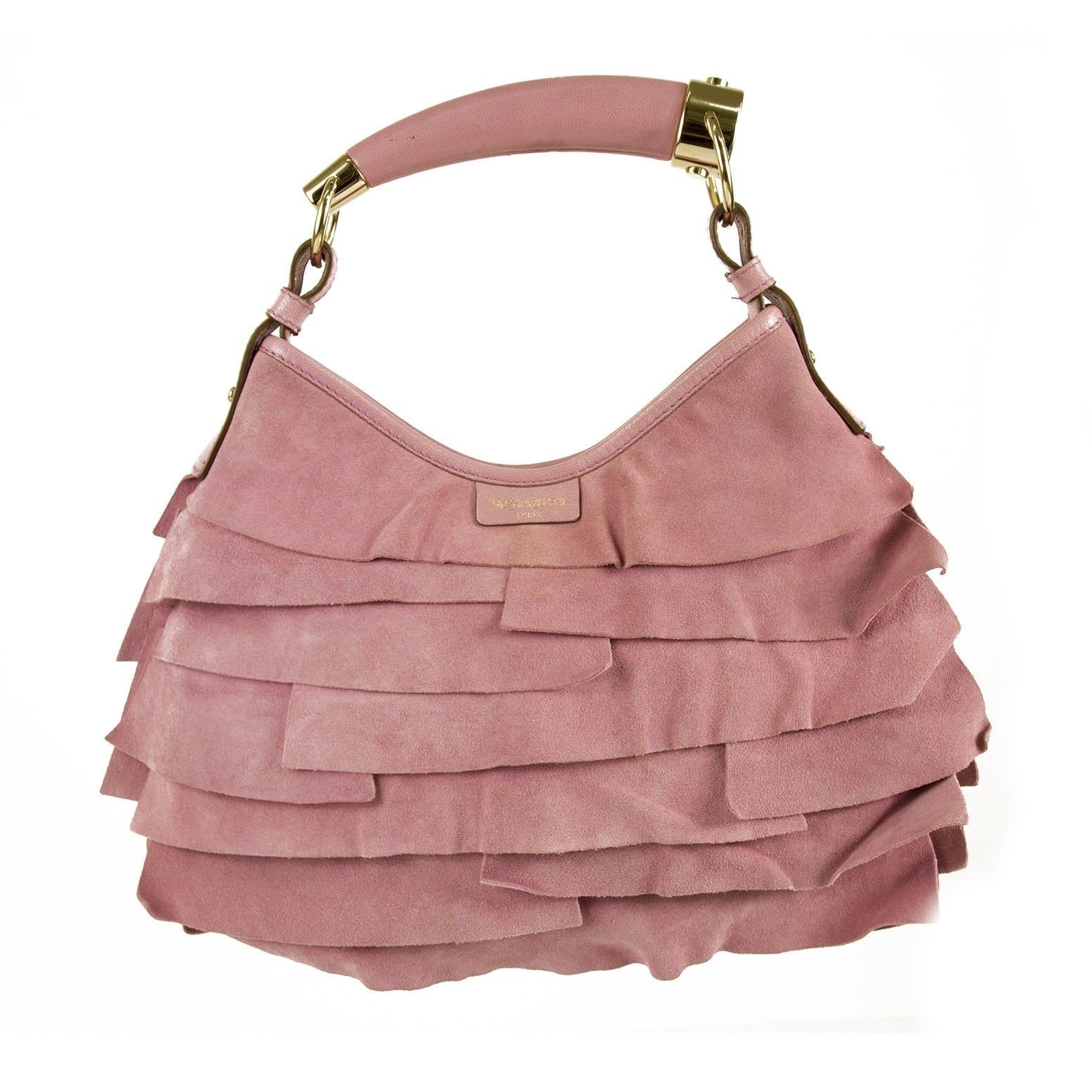 93cfeedec84 S l1600. S l1600. Previous. Yves Saint Laurent YSL Pink Suede Leather  Ruffle Mombasa Shoulder Bag Horn Handl