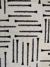 1/2 yd Music/clarinet woodwind instruments on ivory quilt fabric -free shipping image 6