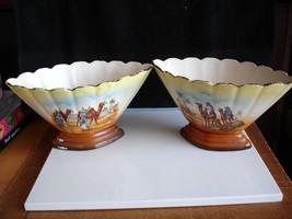 Pair of 1920 Art Deco Czech Fan Vases - $29.18