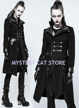 New Punk Rave Gothic Metal Military Warm Worsted Black Jacket Coat Y791 Fast Pos - $129.31