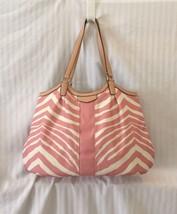 COACH Pink Zebra Stripe Print Tote Shoulder Bag F24022 - £78.60 GBP