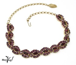 "Ruby Red & Purple Rhinestone 17"" Choker - Vintage Necklace Adjustable - ... - $28.00"