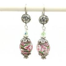 """LAMPWORK glass bead sterling silver drop earrings - pink white flower dangle 2"""" - $14.70"""
