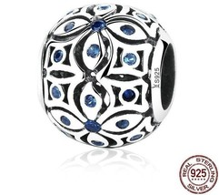 925 Sterling Silver Charms With Blue Crystals Bead Bracelets For Women J... - $13.85