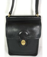 Coach Vintage Small Willis Smooth Black Leather Shoulder Bag-Made in USA - $93.11