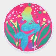 Round Cotton Beach Towel Fuchsia Mermaid Print Wrap Poncho Tassel Trim 3... - $31.01 CAD