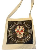 "Canvas Silk Screened Sugar Skulls Day of the Dead Tote Bag Style 10 14"" ... - $9.85"