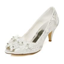 JIAJIA 5949420 Women's Bridal Shoes Peep Toe Cone Heel Lace Satin Pumps ... - $43.93+