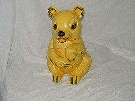 "Vintage Bear Cookie Jar 12.5"" Yellow Hand Painted 18285 - $20.74"
