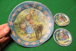 Little Red Riding Hood Plates Ohio Art antique toy collectible tin litho... - $24.94