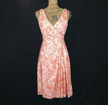 Talbots 2 XS Dress Silk Cotton White Peach Orange Watercolor Faux Wrap Pleat LN - $19.95