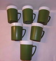 Retro Cups Green Thermo Style Mugs Set 6 GitsWare Mod Gits Ware Plastic ... - $24.70