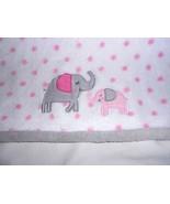 Parents Choice Baby Blanket White Grey Pink Polka Dot Elephant Mom Baby - $24.24