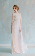 Scoop 3/4 Sleeves V Back A Line Long White Lace Chiffon Wedding Dress with Sash - $115.00