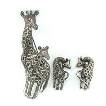 Giraffe Rhinestone Silver Tone Metallic Clip On Earrings Brooch Pin 3 Pi... - $23.36