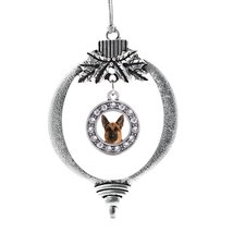 Inspired Silver German Shepherd Face Circle Holiday Ornament - €12,81 EUR