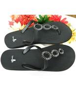 Sanuk Ellipsis Black Silver Sandals Flip Flops Thongs Size 8 to 8 ½ - $21.95