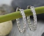 Delicated 130ct round vvs1 d diamond huggie hoop earrings thumb155 crop