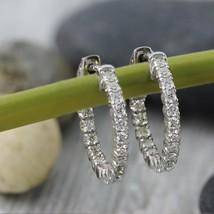 Delicated 130ct round vvs1 d diamond huggie hoop earrings thumb200