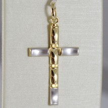 Cross Pendant Gold Yellow White 750 18k, Crimped, Satin, Made in Italy image 1